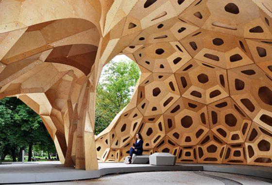 BIOMIMÉTICA: pavilhão experimental da Universidade de Stuttgart, na Alemanha